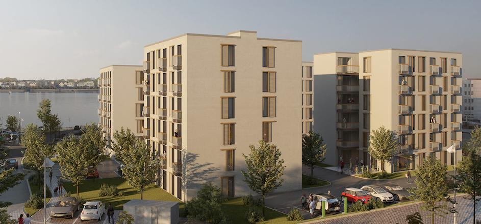 Gemeinsam mit PanAm aus Frankfurt entwickelt pantera gerade in Rostock im Stadtteil Kröpeliner Tor am Fluss Warnow den Neubau von 162 Serviced Apartments mit einer Gesamtwohnfläche von zirka 7.184 m². Die Planung sieht ein Betreiberkonzept für möblierte Mikro Suiten und im Erdgeschoss Gewerbeflächen vor. Der geplante Neubau wird komplett projektiert und steht zum Globalverkauf zur Verfügung © Visualisierung pantera AG