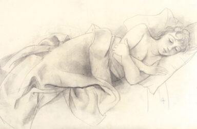 Karl Hofer (1878–1955) Schlafendes Mädchen, um 1925, Bleistift, partiell gewischt, auf Velin, 41,8 × 62,2 cm, unten rechts monogrammiert: CH, Preis: 38.000 Euro © rotermund-kunsthandel.de/de/publications