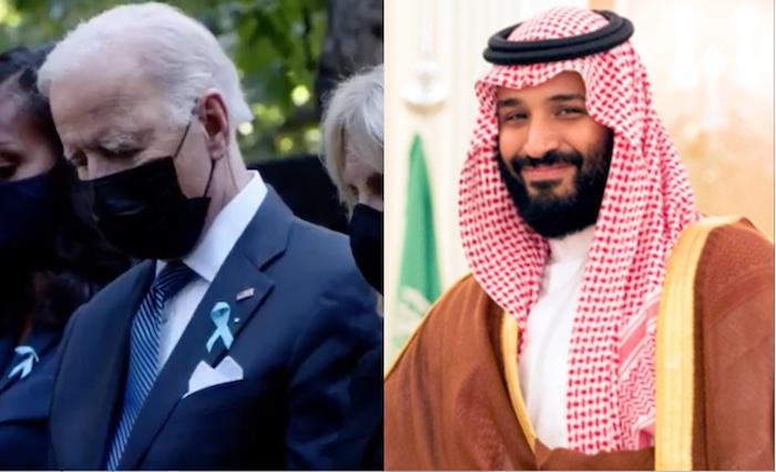 Spannungen zwischen US-Präsidenten Joe Biden (links, bei der Trauerfeier zum 20. Jahrestag von 09/11) und dem saudischen Kronprinzen Mohammed bin Laman al-Saud © Twitter Whitehouse Joe Biden und Wikipedia Whitehouse Gemeinfrei