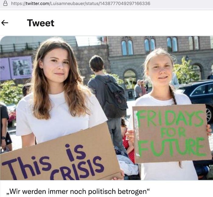 Gemeinsam wollen die deutsche Aktivistin Luisa Neubauer (25) aus Hamburg und die schwedische Initiatorin Greta Thunberg (18) aus Stockholm am 24. September 2021 auf einem internationalen Klimastreik in Berlin auftreten. Zwei Tage vor der Bundestagswahl © Twitter/Luisa Neubauer