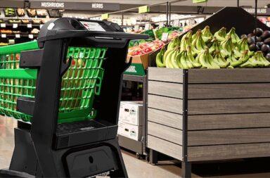 Die Zukunft des neuen Supermarktes hat schon begonnen: Kassiererloses Einkaufen mit Amazon – der Wagen scannt den Einkauf, abgerechnet wird über das Amazon-Konto © Amazon.com